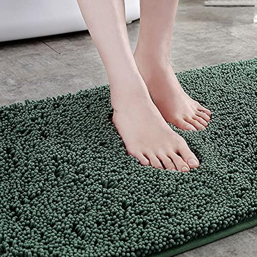 滑り止めシェニールバスマット、耐久性のある滑り止めバッキング、超吸収性、バスルーム用洗濯機で洗えるラグ (緑)