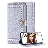 Aearl Huawei P20 Pro Diamond Wallet Case for Women,for Huawei P20 Pro Shiny Silver Leather,Luxury Fashion Glitter Sparkle Bling Crystal Rhinestone Flower Magnetic Buckle Closure Card Holder Case