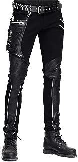 Devil Fashion Casual Men's Steampunk Patchwork Pants Straight Pencil Pants with Pocket
