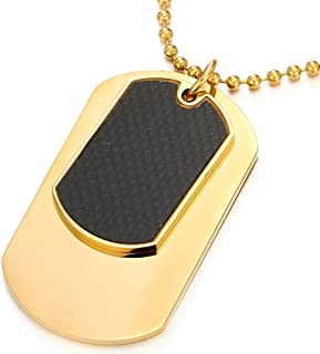 Steel Two-Pieces Gold Color Mens Dog Tag Pendant Necklace with Carbon Fiber and 30 inches Ball Chain