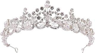 Corona, Diadema di Perle Accessori for Capelli da Sposa da Sposa for Donna Festa di Compleanno Concorsi di Bellezza (Color...