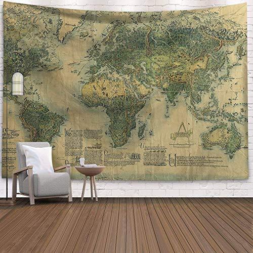WERT Mapa del Mundo 3D geométrico Tapiz Colgante de Pared Toalla de Playa decoración del hogar Tapiz de Tela de Fondo A1 130x150cm