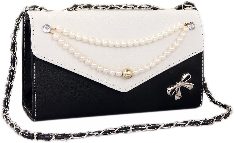 Catkit Fashion Womens Pearl Chain Bowknot Evening Tote Handbag Shoulder Bag