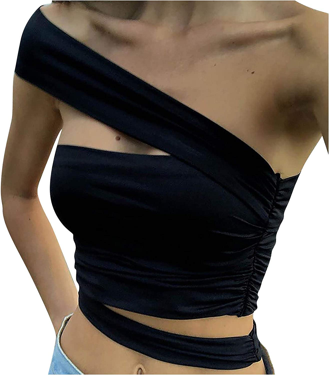 Smileyth Free shipping on posting reviews Womens One Shoulder Crop Solid Color Tops Selling rankings Casual Summer