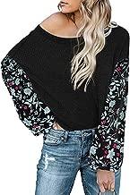 Kiyotoo Womens V Neck Off-Shoulder Tunic Blouse Henley Shirts Waffle Knit Casual Loose Plain Pullover Floral Print Shirts