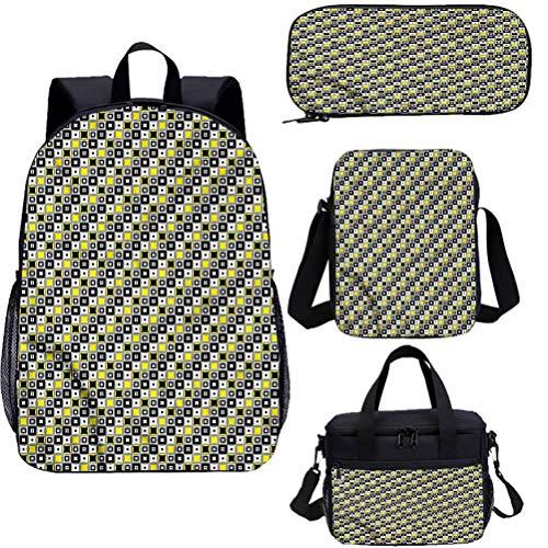 Juego de bolsas escolares para niños, de 38,1 cm, cuadrados y círculos, para el trabajo, la escuela, viajes, picnic