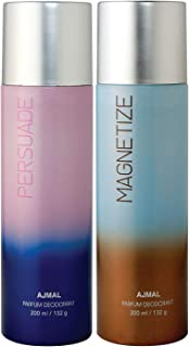 Ajmal Persuade & Magnetize Deodorant Combo pack of 2 Deodorants 200 ml each (Total 400ML) for Men & Women + 2 Parfum Testers