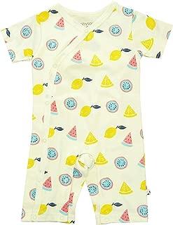 Babysoy Short Sleeve Organic Pattern Kimono Romper Shortall