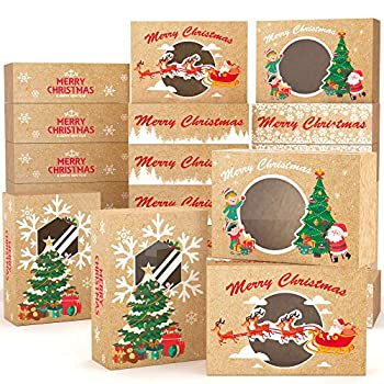 KD KIDPAR 24PCS Christmas Cookie Boxes Large for Gift Giving Packaging Holiday Christmas Food Bakery Treat Boxes with Window Candy and Cookie Boxes 8.8x6x2.8