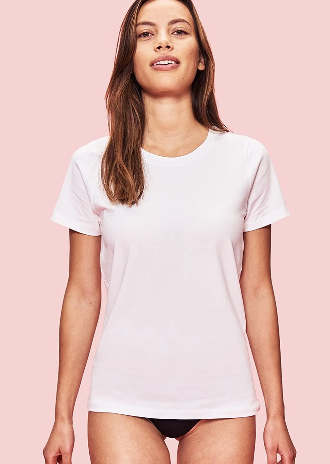 ブーム瞑想的誰か1週間着続けてもニオわない(シルバーテック) Silver Tech Tシャツ レディース オーガニック 抗菌防臭 (XS, ホワイト)