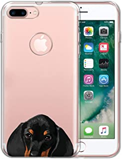 FINCIBO Case Compatible with Apple iPhone 7 Plus 2016 / iPhone 8 Plus 2017, Clear Transparent TPU Protector Case Cover Soft Gel for iPhone 7 Plus / 8 Plus (NOT FIT iPhone 7/8) - Dachshund Puppy Dog