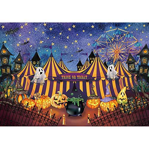 Allenjoy 7x5ft Halloween Carnival Backdrop Tent Jack Pumpkin Lantern Ghost Wizard Photograhy Background Bat Decoration Horror Night Kids Party Supplies Banner Photo Booth Prop