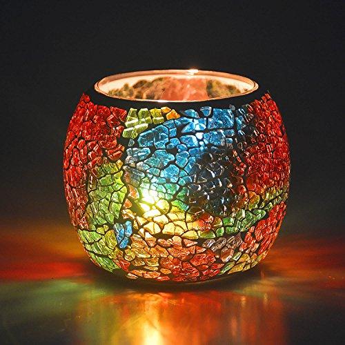 キャンドルホルダー キャンドルスタンド ボールカップ 手作り モザイクガラス製 ステンドグラス アンティーク 置物 インテリア 照明 ティーライト用 (虹色)