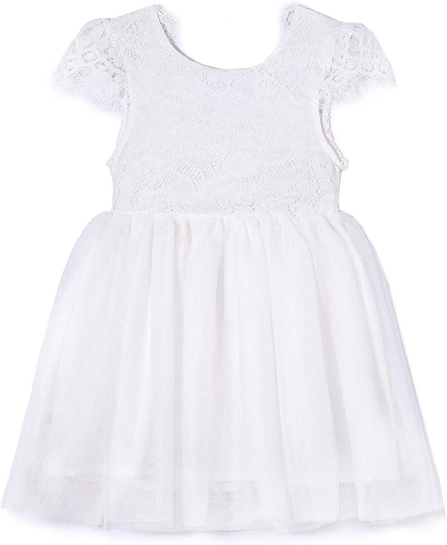 Niyage Toddler Girls Cap safety Sleeve Lace Elegant D V-Backless Clearance SALE! Limited time! Floral