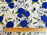 Oddies Textiles Stoff, Totenkopf-Druck, 100 % Baumwolle,