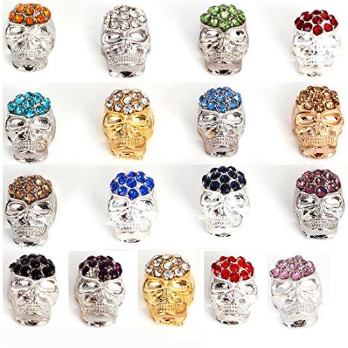 RUBYCA 50pcs Lot Mix Color Skull Beads Crystal Sideway Connector Shamballa Bracelet Jewelry Making