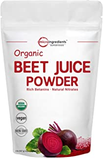 Organic Super Beet Root Juice Powder, 2 Pounds (32 Ounce), Natural Nitrates for Energy Booster, Superfoods for Beverage and Smoothie, No GMOs and Vegan Friendly