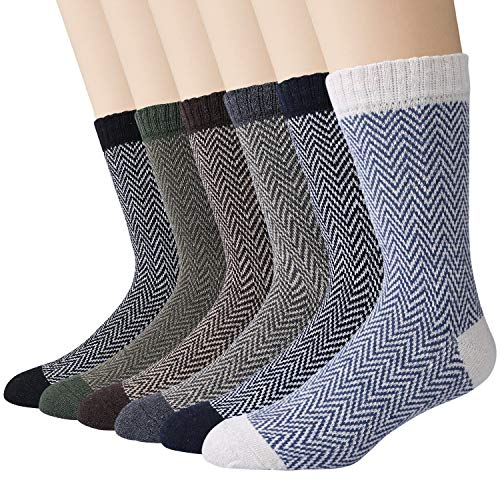 6 Pairs Mens Socks Thermal Knitting Wool Socks for Winter