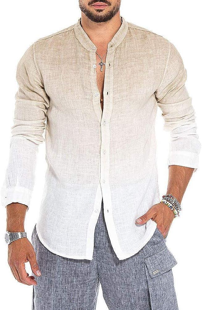 Camisa de Lino para Hombre Camisas de Manga Larga Henley de ...