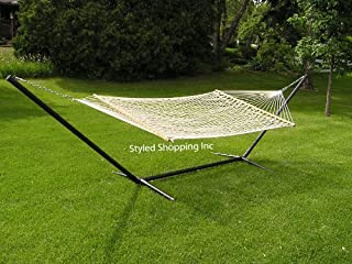 Styled Shopping Deluxe Two Person White Rope Hammock Set - Metal Stand Included