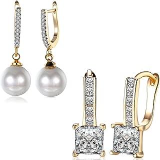 14K Gold Cubic Zirconia Diamond Dainty Small Hoop Earrings For Women Wedding CZ Dangle Pearl Drop Crystal Hypoallergenic Nice Gift