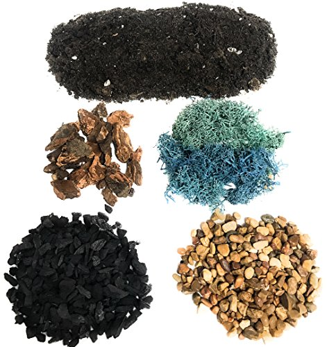 DIY Terrarium and Succulent Planter Kit   Includes Organic Soil Mix, Hoffman Charcoal, Orchid Bark, Decorative Gravel and Reindeer Moss (Small DIY Soil Kit)  Plus Free Nautical Ebook by Joseph Rains