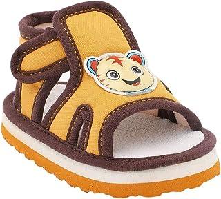 Hopscotch Bubbles Boys Rubber Cartoon Applique Sandals in Gold Color