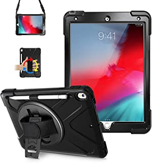iPad Air 3 Case 2019, LITCHI iPad Pro 10.5 Case with Pencil Holder, Rugged Case with 360 Rotatable Kickstand,Hand Strap/Shoulder Strap for iPad Pro 10.5