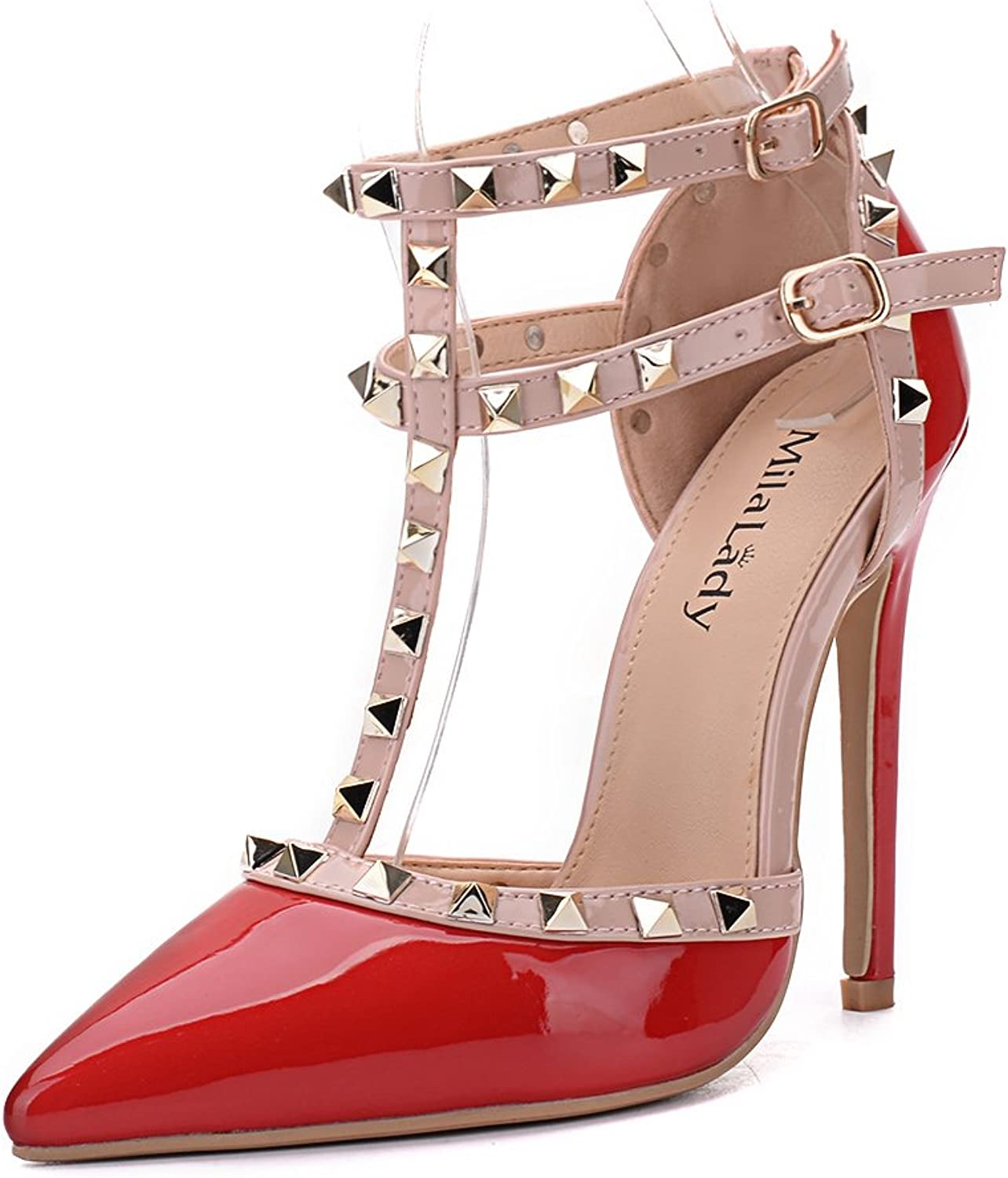 Mila Lady (ETHER08 Two -Tone Patent Strappy Ankle with Stud Elegance Platform Lady Heeled Pumps shoes   RED11