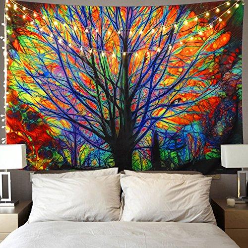 Alishomtll Wandbehang Bunter Baum Wand Tapisserie Psychedelischer Wald mit Vogel Böhmischer Mandala Hippie Tapisserie für Schlafzimmer Wohnzimmer 150x130cm