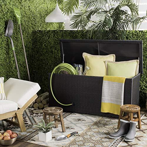 Safavieh PAT9002A Collection Cosima Black 53' 13 Gallon Outdoor Storage Deck Box