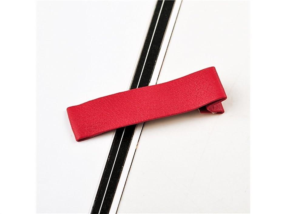 リンク化学散歩Osize 美しいスタイル シンプルな純粋な色のレザークリップは、ヘアピンダックビルクリップアクセサリー女性の女の子(赤)
