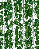 Flamingueo hiedra artificial - 12 piezas x 2m plantas artificiales decorativas, flores artificiales exterior, enredadera artificial, planta artificial colgante, decoracion habitacion tumblr
