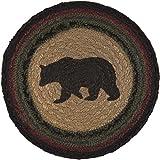 VHC Brands Rustic Tabletop Kitchen Wyatt Bear Jute Stenciled Textured Nature Print Round Table Décor, 8' Trivet, Tan