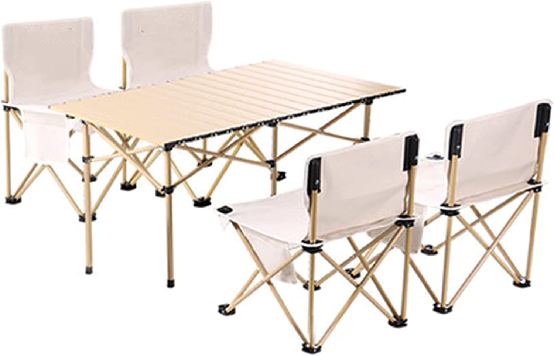 YAHAO Mesa y Sillas Portátiles para Acampar,Mesa de Picnic Plegable de Aluminio Mesa Plegable Portátil con 2、4、6 Asientos para Exteriores, Cámping, Comida, Fiesta de Barbacoa,4seats