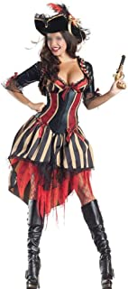 New Women Pirate Costume Woman Female Halloween Fancy Party Dress Carnival Adult Pirate Jack Sparrow Cosplay Costumes (Color : A, Size : One Size)