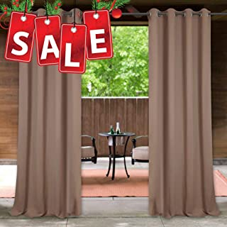 StangH Outdoor Curtains for Patio Waterproof - Outdoor Privacy Curtains Thermal Insulated Outside Drapes Prevent Sun Exposure for Screened Porch/Backyard, Mocha, 52 inch Wide x 84 inch Long, 1 Panel
