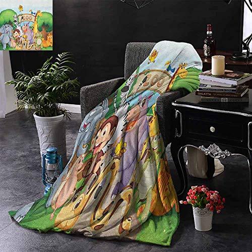 ZSUO Digital Printing Deken Diverse Dieren op Drijvende Boot Bos Rivier Reis Natuur Buiten Zachte en comfortabele slaapbank