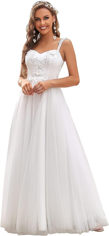 Ever-Pretty Women's Spaghetti Straps Long Appliques Simple Wedding Dresses 90350
