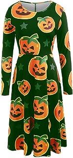 Kangma Women Casual Halloween Day Dress Long Sleeve Pumpkin Print Plus Size Party Dress (XX-Large(US 22) /Tag 5XL,Green)