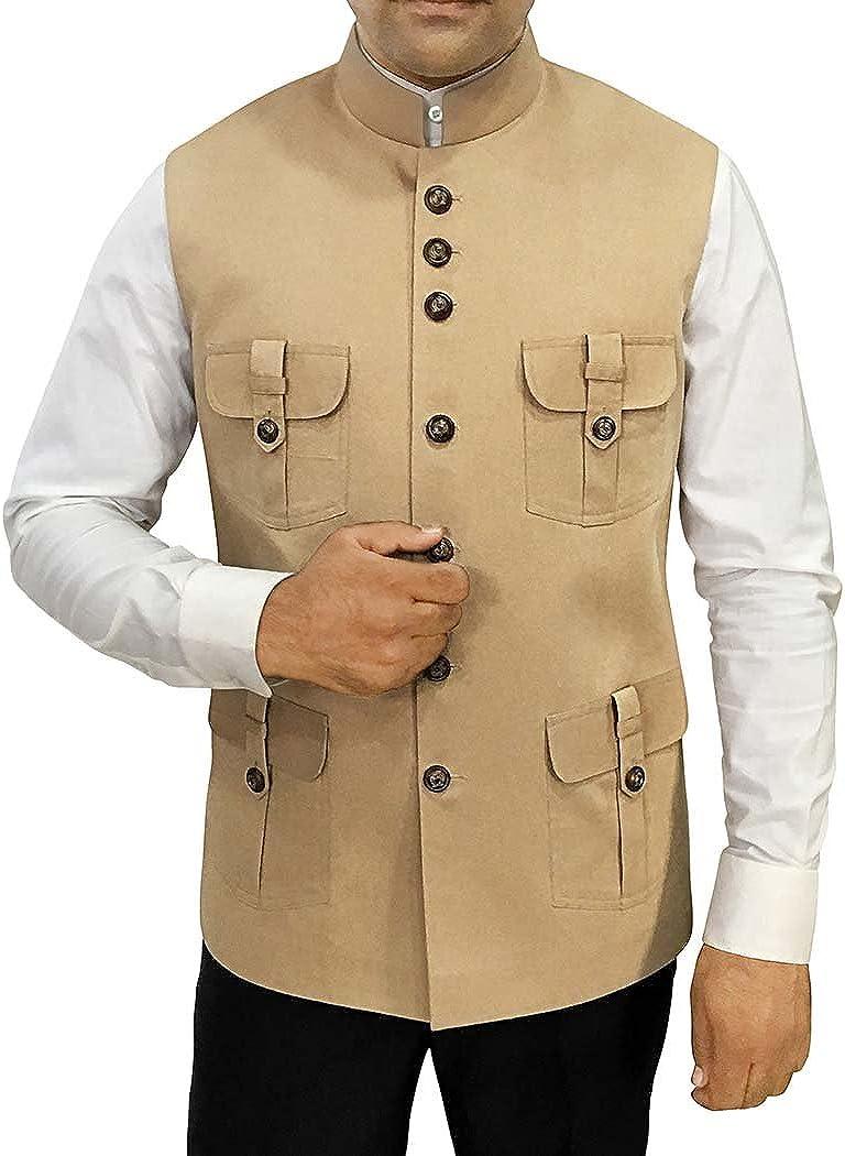 INMONARCH Tan Mens Safari Style Cotton Indian Nehru Waistcoat NV083