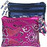 kilofly Brocado de seda chino, 3 bolsillos con cremallera, bolsa de joyería, juego de 2