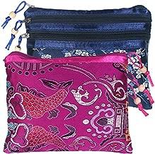 kilofly 2 pc Chinese Silk Brocade 3 Zipper Pocket Tassel Jewelry Bag Gift Pouch