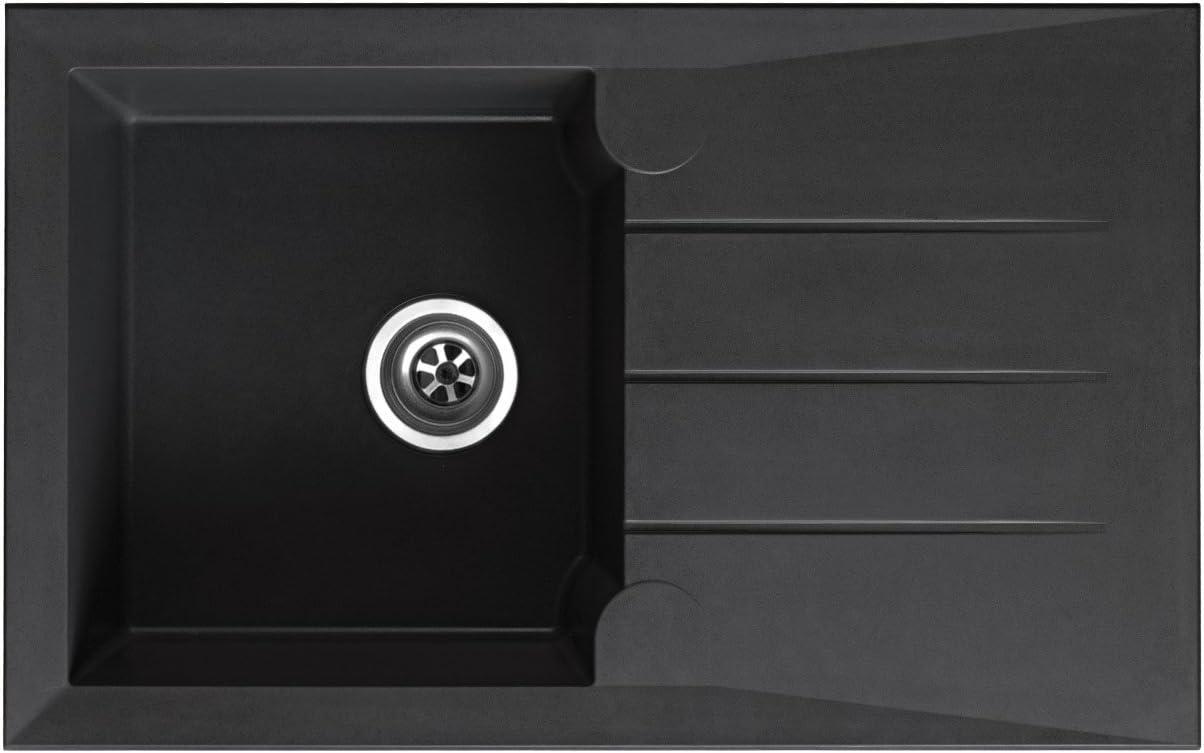respekta ALINEO81X50S - Fregadero (81 x 50 cm), color negro