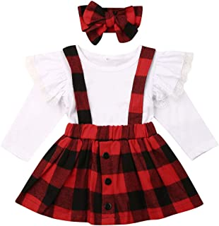 3PCS Toddler Baby Girl Cotton Ruffled T Shirts Floral Plaid Overall Skirts Set Toddler Girl Christmas Dresses Outfits