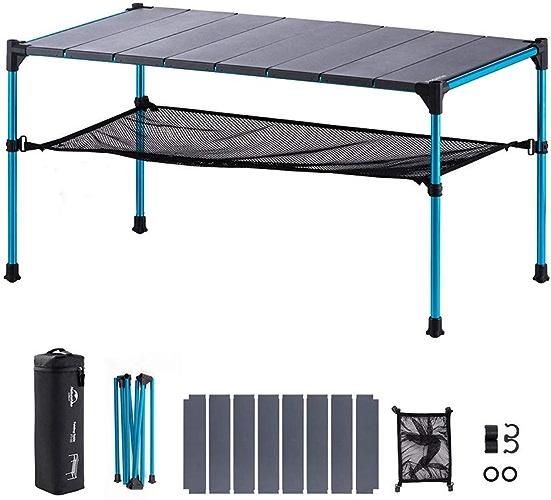 ZFF Ultra Légère Aluminium Pliant Tables De Camping, Portable Roll-up avec Sac De Transport pour Randonnée,Pique-Nique,Plage,Pêche,Cuisine