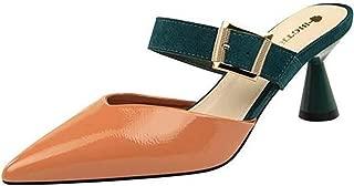 PPXID Women's Slip-on Pumps Mid Kitten Heel Slide Mules