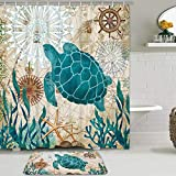 Sea Turtle Shower Curtain Set with Non-Slip Bathroom Mats, Nautical Ocean Shower Curtains with 12 Hooks, Durable Waterproof Bath Curtain