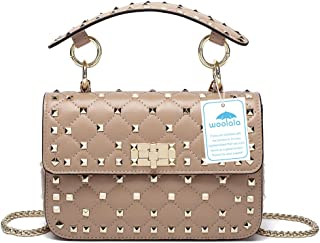 Woolala Genuine Leather Quilted Shoulder Bag Chain Purse Mini Clutch with Bling Rivets Top Handle Handbags