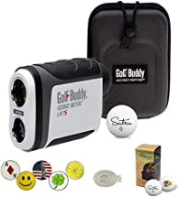 GolfBuddy LR7S Golf Laser Rangefinder Bundle with 5 Ball Markers, 1 Magnetic Hat Clip and Saintnine 2 Ball Sleeve
